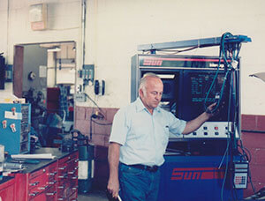 Here's Gordie still working on cars in 1986.